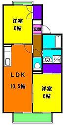 静岡県磐田市下本郷の賃貸アパートの間取り