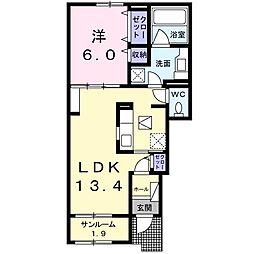 JR中央本線 塩尻駅 徒歩24分の賃貸アパート 1階1LDKの間取り