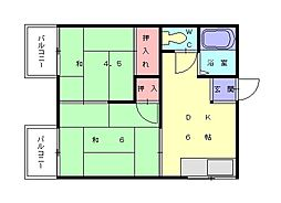 コーポ八尋[2階]の間取り