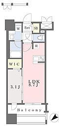 JR鹿児島本線 千早駅 徒歩4分の賃貸マンション 13階1LDKの間取り