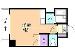 ドエル札幌北11条 3階ワンルームの間取り