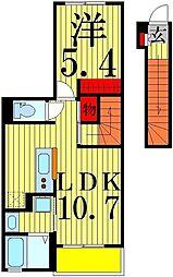 フェリーチェ 2階1LDKの間取り