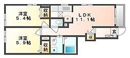 岡山県岡山市中区倉富の賃貸アパートの間取り