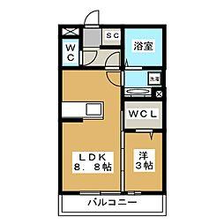 (仮)神明町D-room 3階1LDKの間取り