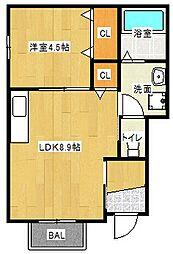 Osaka Metro谷町線 大日駅 徒歩8分の賃貸アパート 1階1LDKの間取り