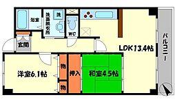 さくら館 4階2LDKの間取り