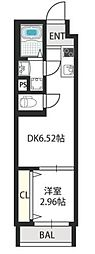 ドゥエリング千林商店街 2階1DKの間取り