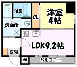 仙台市地下鉄東西線 青葉通一番町駅 徒歩8分の賃貸マンション 10階1LDKの間取り