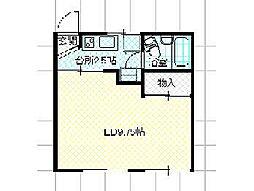 ブレスハウス B 2階1Kの間取り