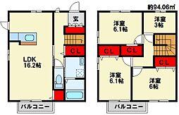 [タウンハウス] 福岡県北九州市八幡西区本城学研台2丁目 の賃貸【/】の間取り