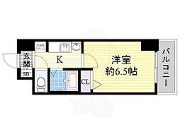 エステムコート大阪ベイエリア 9階1Kの間取り