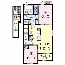 長野県長野市徳間1丁目の賃貸アパートの間取り