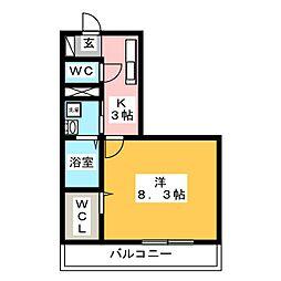 メゾンソフィア 3階1Kの間取り