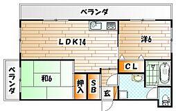 菊ヶ丘ハイツ[1階]の間取り