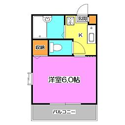 東京都清瀬市中清戸3丁目の賃貸アパートの間取り