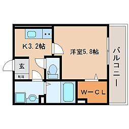 JR東海道本線 東静岡駅 徒歩7分の賃貸アパート 3階1Kの間取り