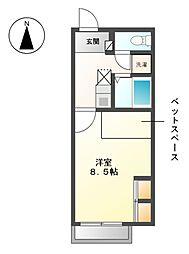 愛知県愛知郡東郷町清水4丁目の賃貸アパートの間取り