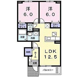 寺の前町アパート[0102号室]の間取り