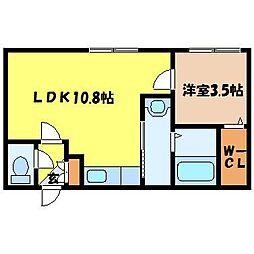 札幌市営南北線 中島公園駅 徒歩8分の賃貸マンション 3階1LDKの間取り