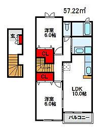 福岡県遠賀郡岡垣町東高陽3丁目の賃貸アパートの間取り