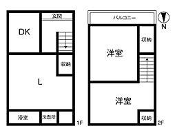 大阪市中央区東平1丁目 中古テラスハウス 2LDKの間取り