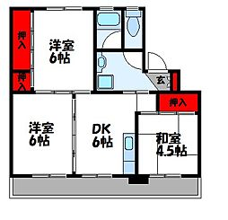 ビレッジハウス伊川 1号棟[104号室]の間取り