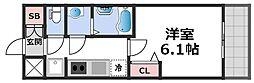 プレサンス THE TENNOJI 逢阪トゥルー 5階1Kの間取り