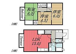 [テラスハウス] 千葉県千葉市稲毛区黒砂台1丁目 の賃貸【/】の間取り