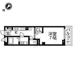 JR東海道・山陽本線 西大路駅 徒歩31分の賃貸マンション 3階1Kの間取り