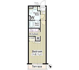東京メトロ日比谷線 中目黒駅 徒歩2分の賃貸マンション 1階1Kの間取り