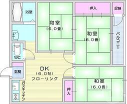 仙台市地下鉄東西線 八木山動物公園駅 3.2kmの賃貸アパート 1階3DKの間取り