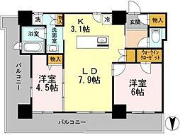 カスタリアタワー長堀橋[18階]の間取り