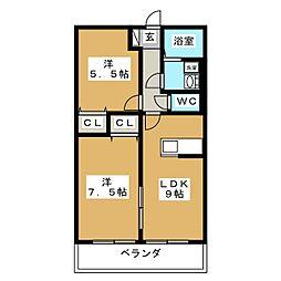 アウラガーデンA棟[1階]の間取り