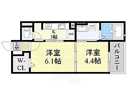 阪急京都本線 高槻市駅 バス9分 下田部団地下車 徒歩8分の賃貸マンション 2階2Kの間取り