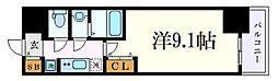 名古屋市営鶴舞線 浅間町駅 徒歩6分の賃貸マンション 2階1Kの間取り