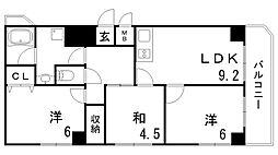 ローレル北野[7階]の間取り