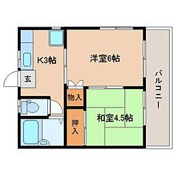 静岡県静岡市駿河区中田本町の賃貸アパートの間取り