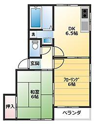 神奈川県横浜市保土ケ谷区岩井町の賃貸アパートの間取り
