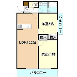 茨城県つくば市東光台2丁目の賃貸マンションの間取り