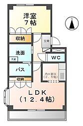 愛知県北名古屋市九之坪宮浦の賃貸マンションの間取り