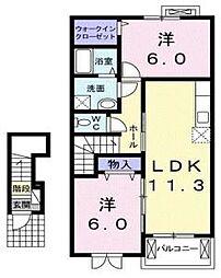 クレール聖徳[2階]の間取り
