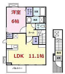 神奈川県小田原市南板橋2丁目の賃貸アパートの間取り