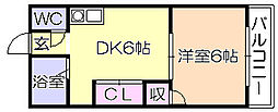 ファミリ-ハイツ津福B[103号室]の間取り