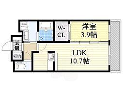 ハニーハウス 2階1LDKの間取り