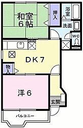 神奈川県相模原市緑区下九沢の賃貸アパートの間取り
