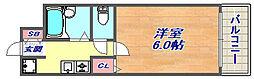 パレユート阪急六甲[2006号室]の間取り