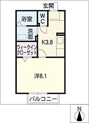 メゾンド−ル[2階]の間取り