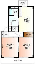JR高崎線 行田駅 徒歩10分の賃貸マンション 1階2DKの間取り