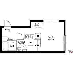 京王線 初台駅 徒歩5分の賃貸マンション 3階ワンルームの間取り