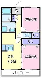 南海高野線 萩原天神駅 徒歩13分の賃貸マンション 1階2DKの間取り